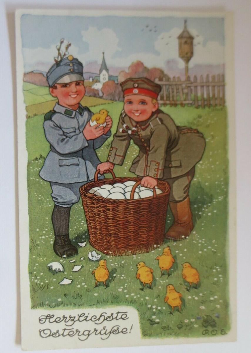 WW1 Ostern, Kinder, Soldaten, Korb, Eier, Küken,   1915, sig. P.O.E.  ♥ (1775) 0
