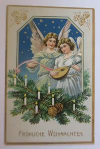 Weihnachten, Engel, Mandoline, Tannenzweige, Kerzen,  1910, Prägekarte ♥ (25749)