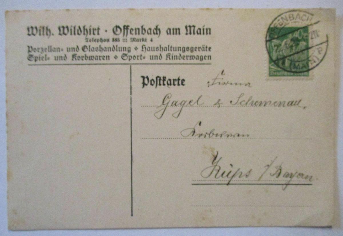 D.Reich, Werbung Reklame Wildhirt Porzellan und Glas Offenbach 1923 (54371) 0