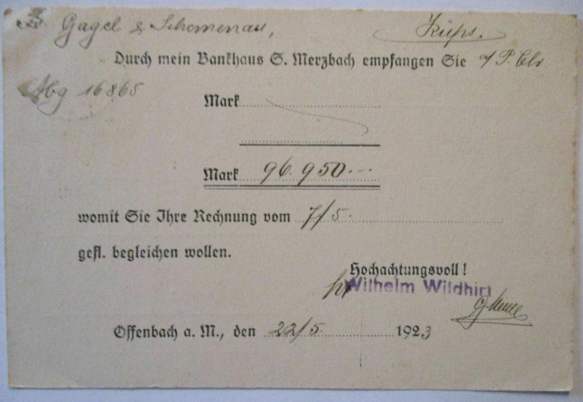 D.Reich, Werbung Reklame Wildhirt Porzellan und Glas Offenbach 1923 (54371) 1