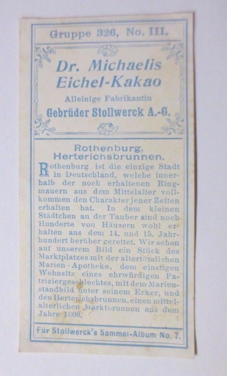 Stollwerck, Gruppe 326,  Nr.3,   Album  Nr.7,  Alte Städte  ♥ 1
