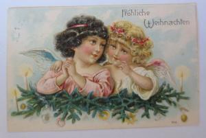 Weihnachten, Engel, Beten, Tannenzweige, Kerzen,  1908, Prägekarte ♥  (23661)