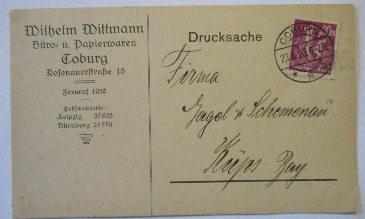 D.Reich, Werbung Reklame Wittmann Papierwaren Coburg 1923 (54077) 0