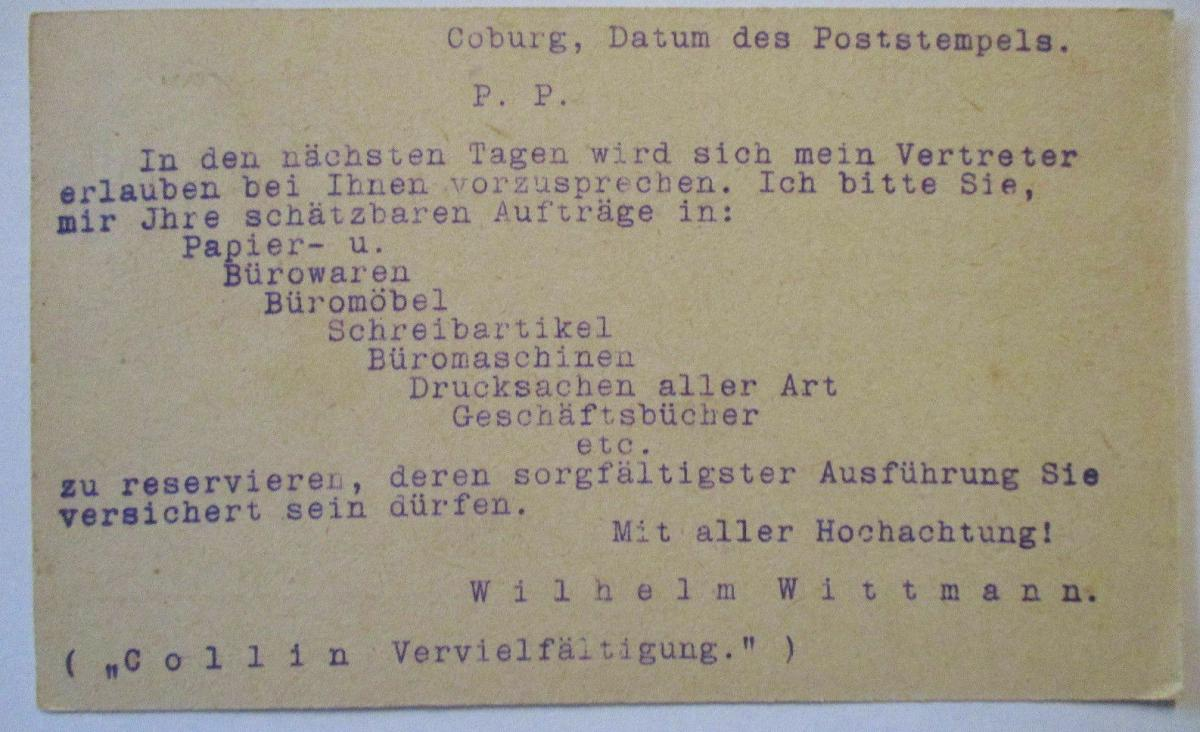 D.Reich, Werbung Reklame Wittmann Papierwaren Coburg 1923 (54077) 1