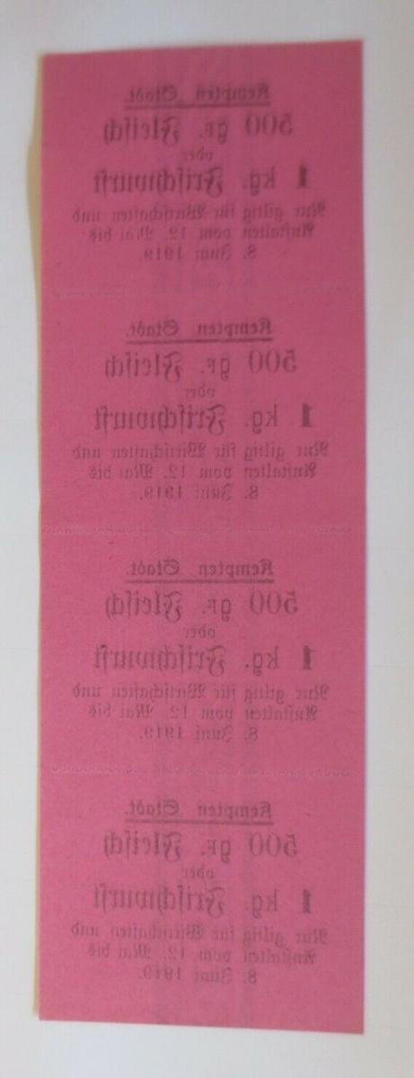 Lebensmittelkarten, Stadt Kempten Fleisch, Wurst, Mai-Juni 1919 ♥ (X148) 1