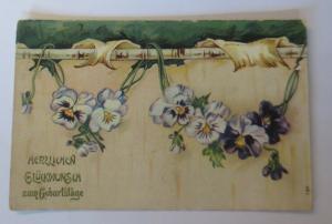 Geburtstag, Blumen, Stiefmütterchen,    1910  ♥ (23585)