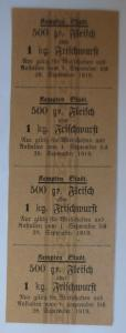 Lebensmittelkarten, Stadt Kempten Fleisch, Wurst, September 1919 ♥ (X163)
