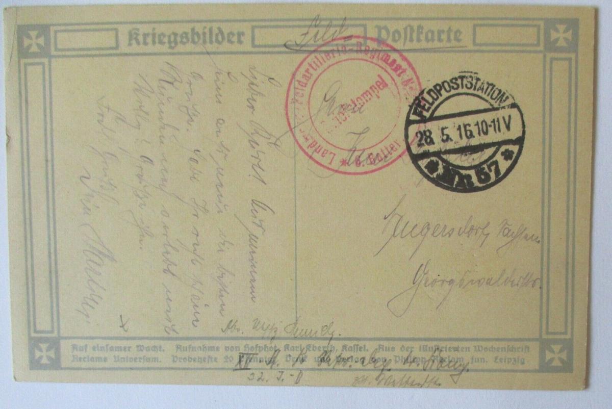 Reclam Kriegskarte, Auf einsamer Wacht Feldpoststation 57, Feldpost 1916 (42908) 1
