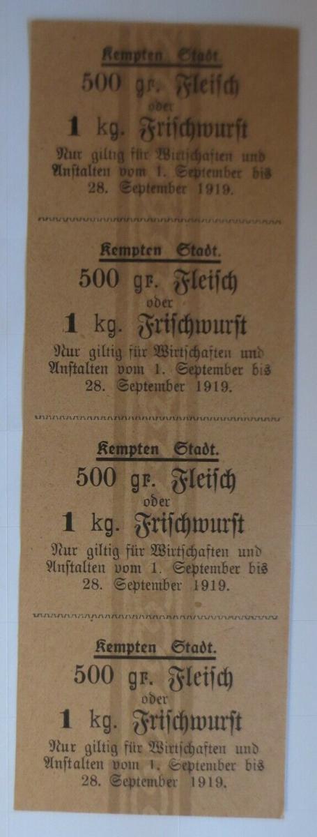 Lebensmittelkarten, Stadt Kempten Fleisch, Wurst, September 1919 ♥ (X162) 0