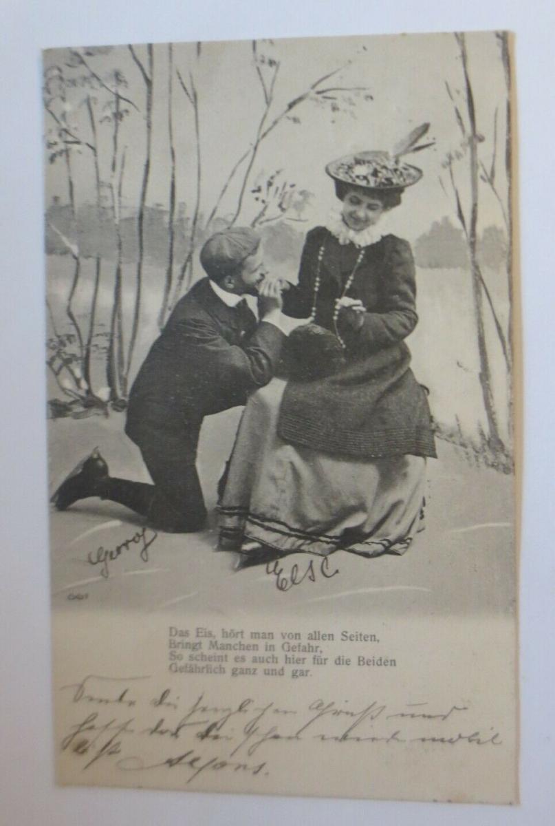 Neujahr, Wintersport, Frauen, Männer, Schlittschuhlaufen,   1903  ♥ (28480) 0