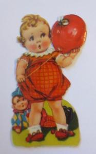 Oblaten, Kinder, Luftballon, Puppe, Biene,  1900,    11 cm x 6 cm  ♥
