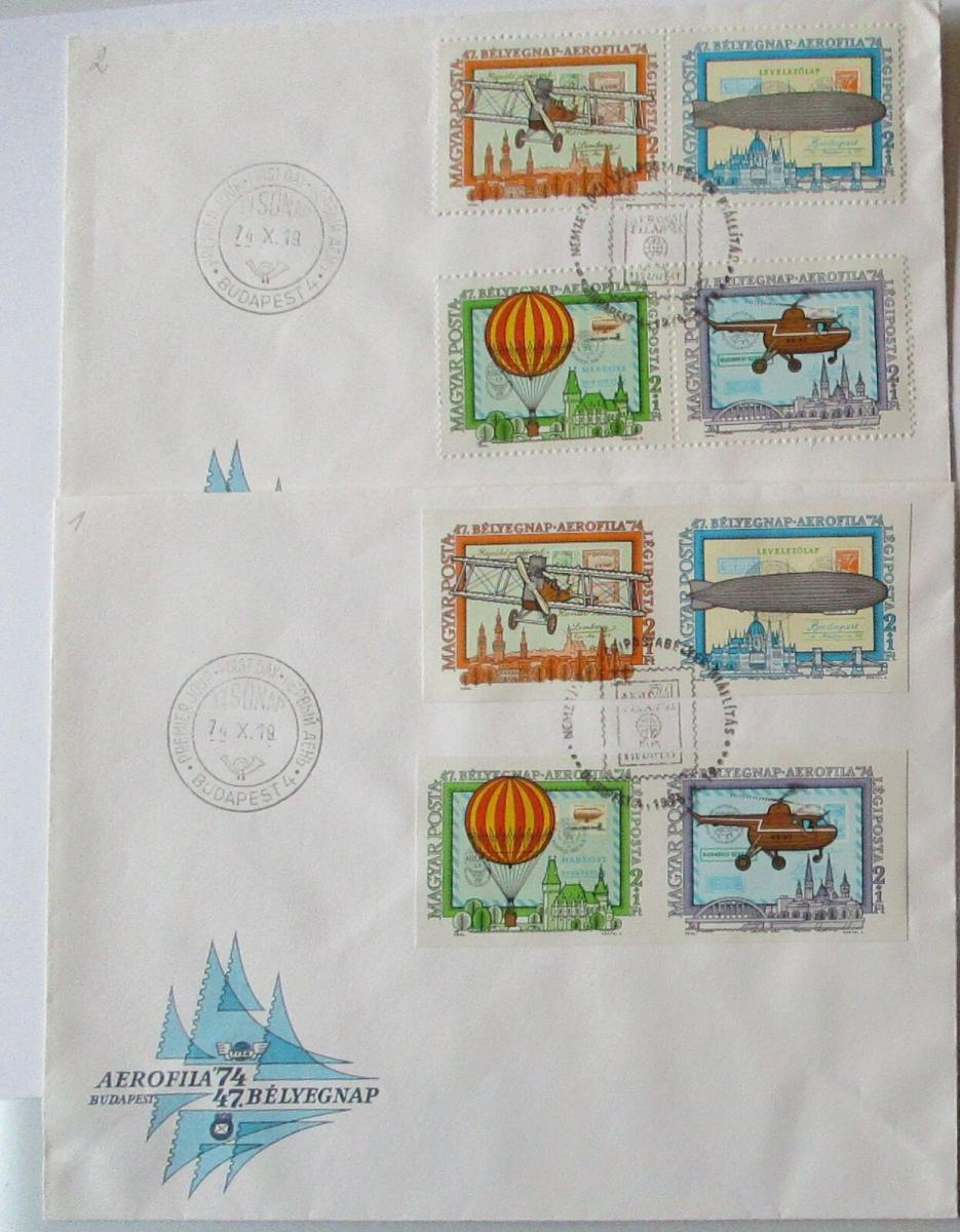Ungarn Aerofila 1974 gezähnt + geschnitten 2986-2989  A und B auf 2 FDC 0