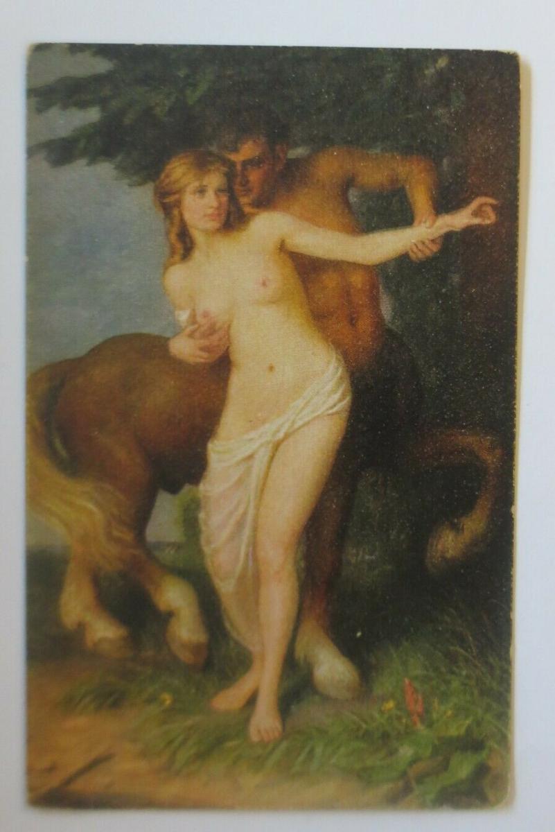 Künstlerkarte, Deutsche Meister, Centaur und Nymphe, 1920, O. Michaelis ♥(14555) 0