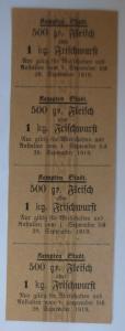 Lebensmittelkarten, Stadt Kempten Fleisch, Wurst, September 1919 ♥ (X158)
