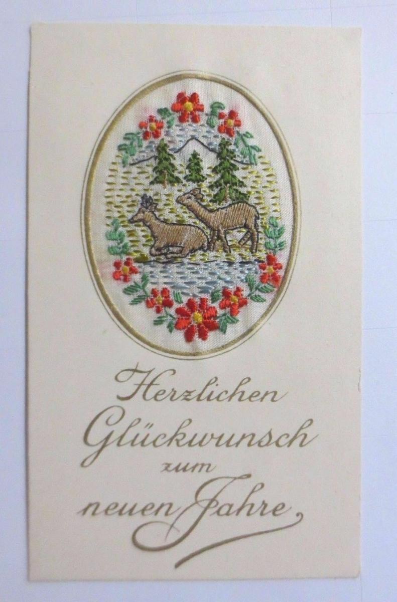 Neujahr, Sticken, Karte, Rehe       1927 ♥ (61149) 0