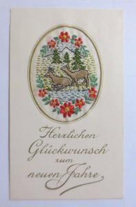 Neujahr, Sticken, Karte, Rehe       1927 ♥ (61149)