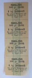 Lebensmittelkarten, Stadt Kempten Fleisch, Wurst, August, 1919 ♥ (X145)