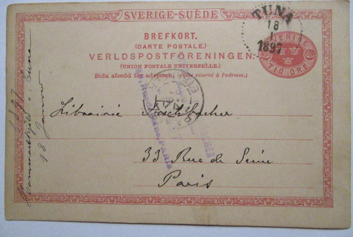 Schweden, Ganzsache 1897 von Tuna nach Paris 0