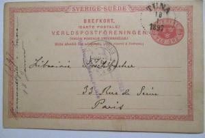 Schweden, Ganzsache 1897 von Tuna nach Paris