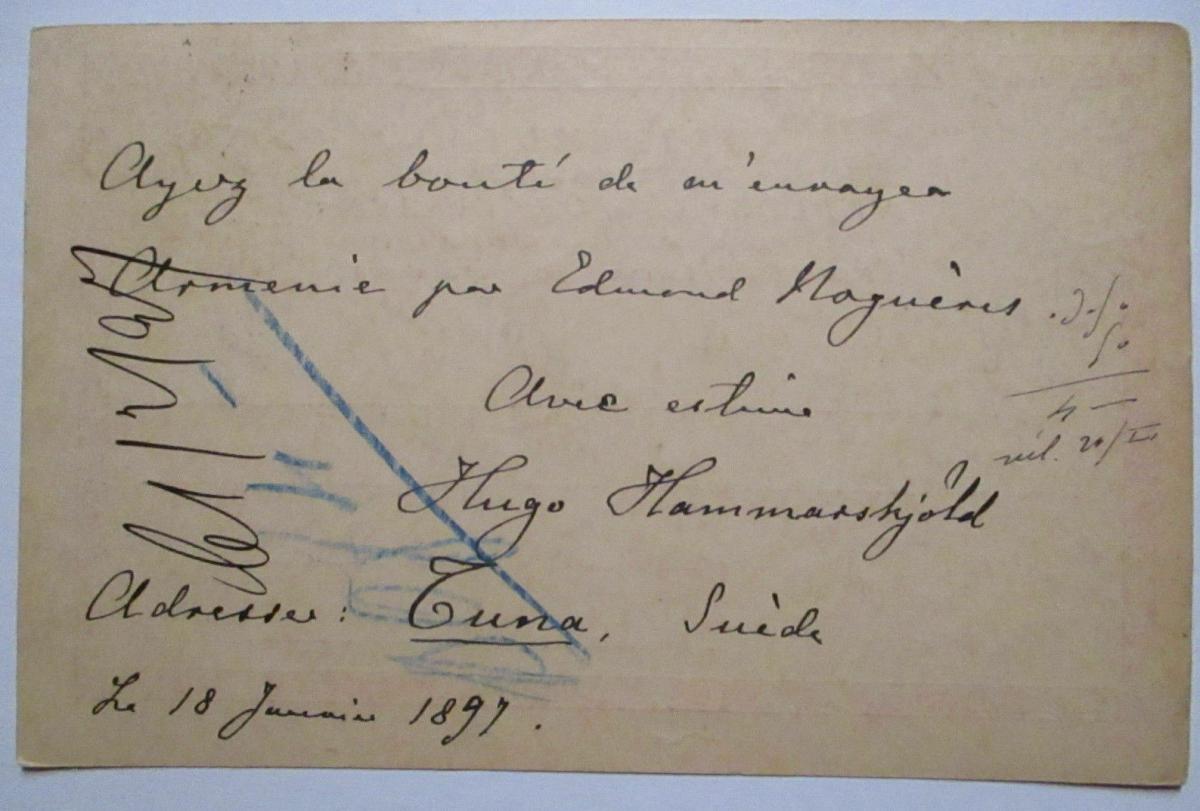 Schweden, Ganzsache 1897 von Tuna nach Paris 1
