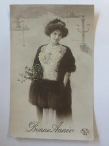 Neujahr, Frauen, Männer, Mode, Muff, Misteln,  1910  ♥ (26436)