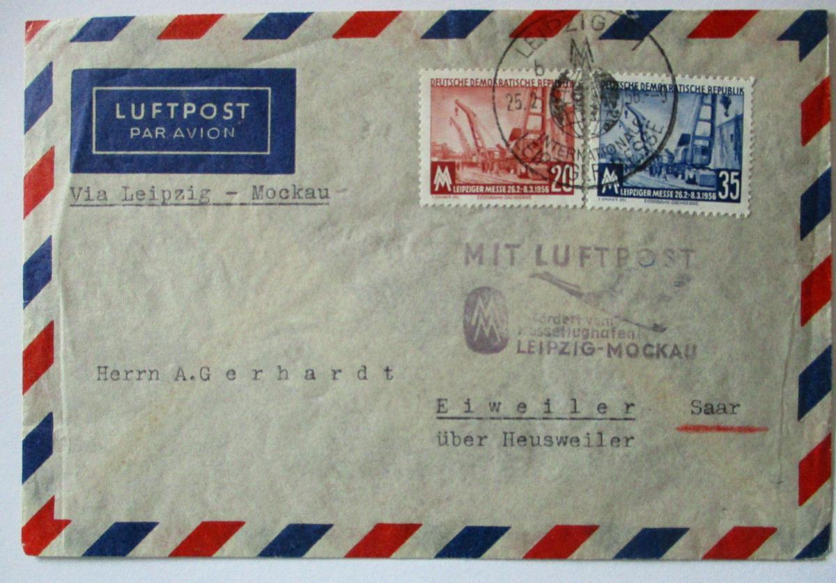 DDR Leipziger Messe Luftpost Leipzig Moskau 1956 (49875) 0