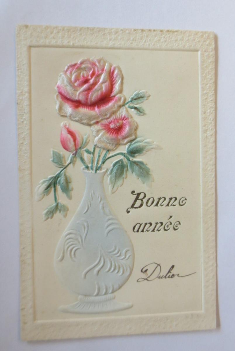 Neujahr, Rosen, Vase,   1900 ♥ (28798) 0
