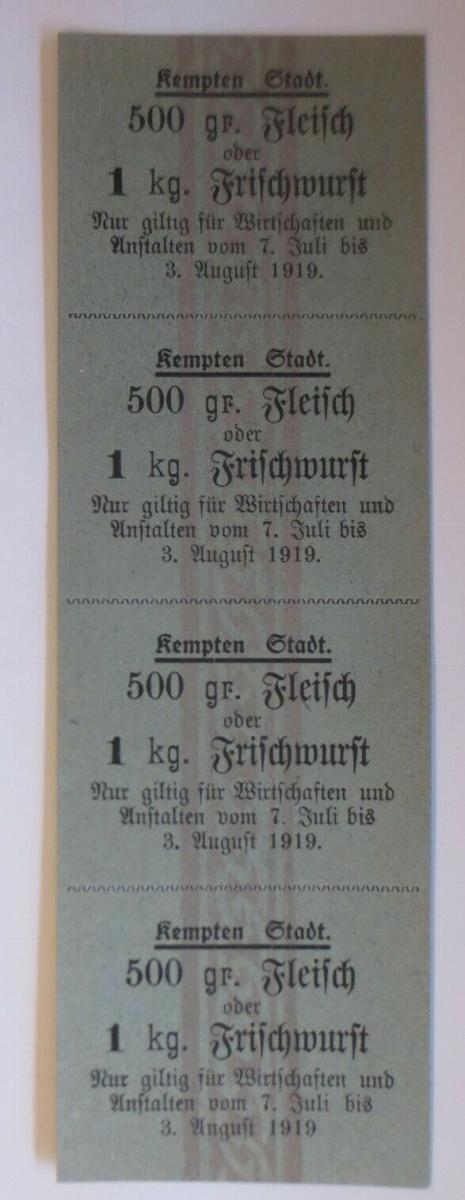 Lebensmittelkarten, Stadt Kempten Fleisch, Wurst, Juli-August 1919 ♥ (X155) 0