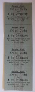 Lebensmittelkarten, Stadt Kempten Fleisch, Wurst, Juli-August 1919 ♥ (X155)