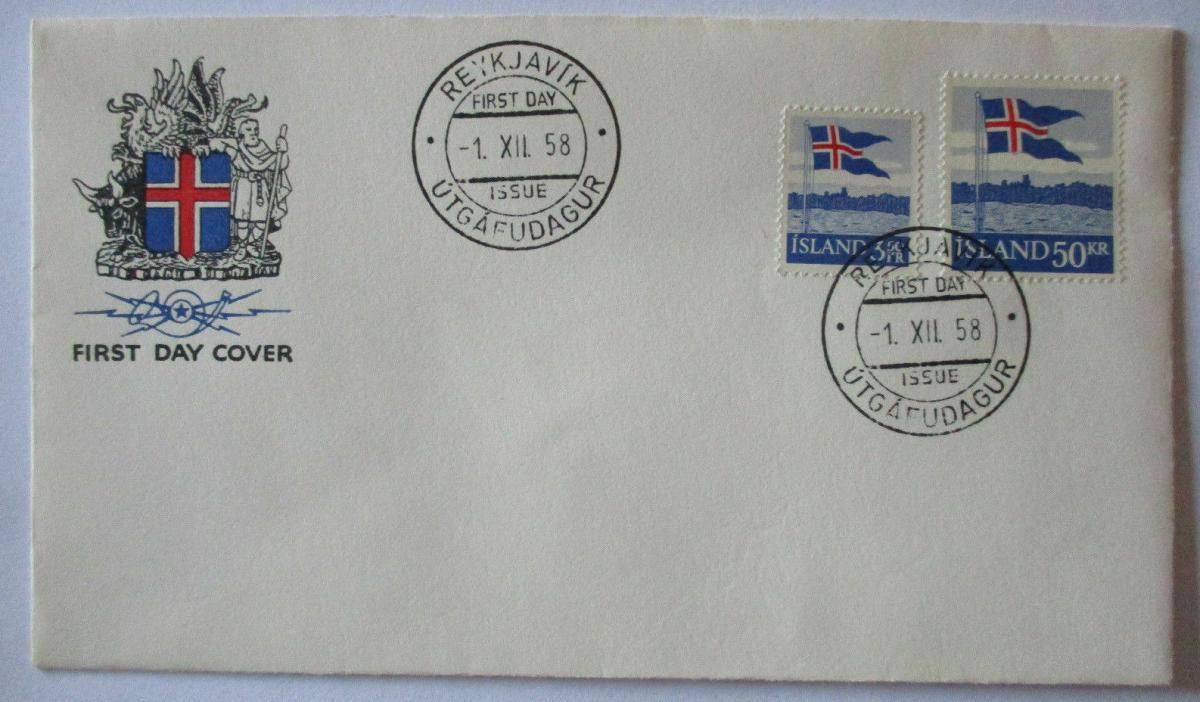 Island, Nr. 327-328 Landesflagge FDC 1958 0
