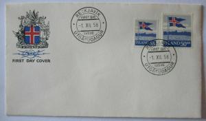 Island, Nr. 327-328 Landesflagge FDC 1958