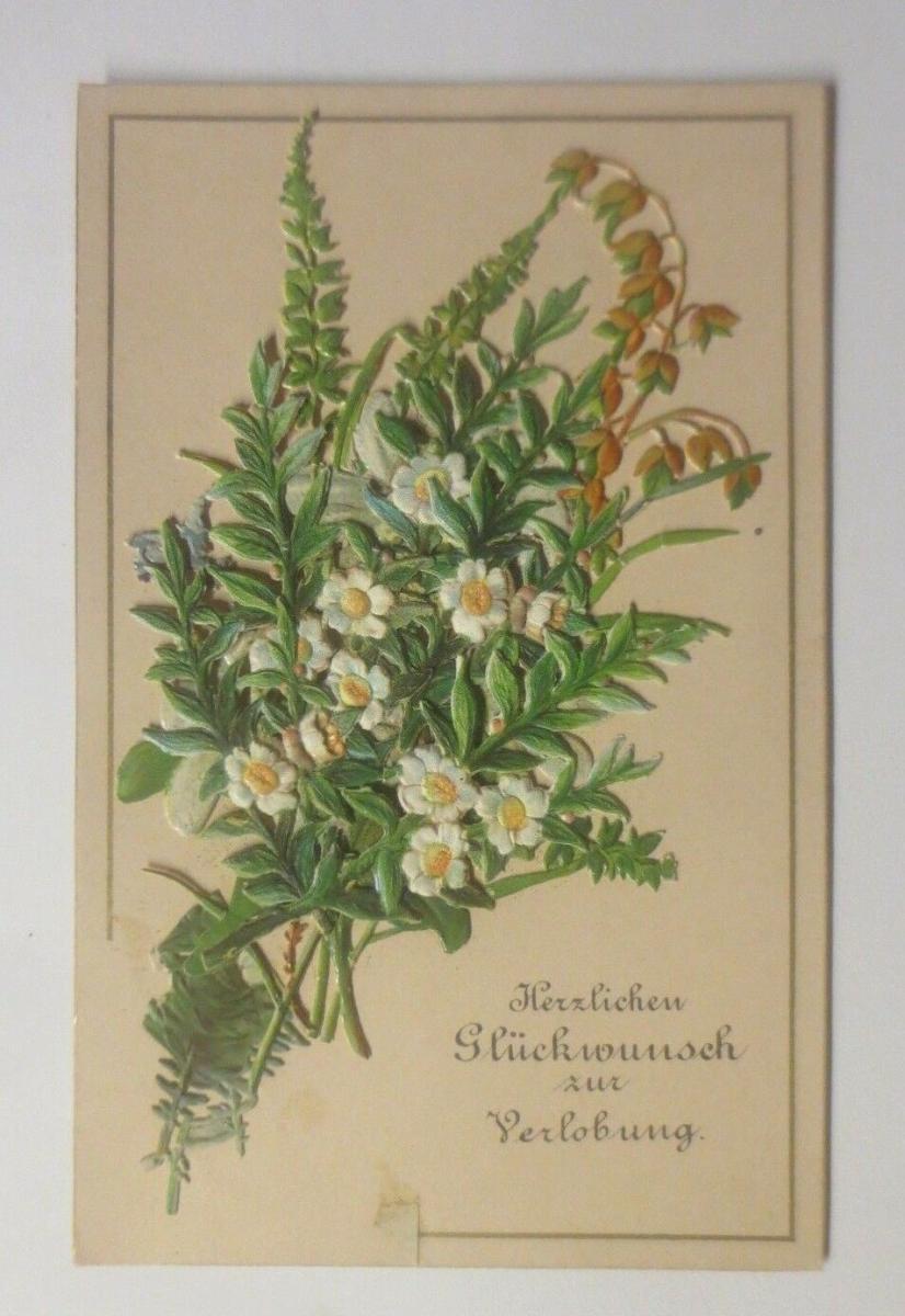 Kleine Klappkarte, Verlobung, Oblaten,    1900  ♥ (70634) 0