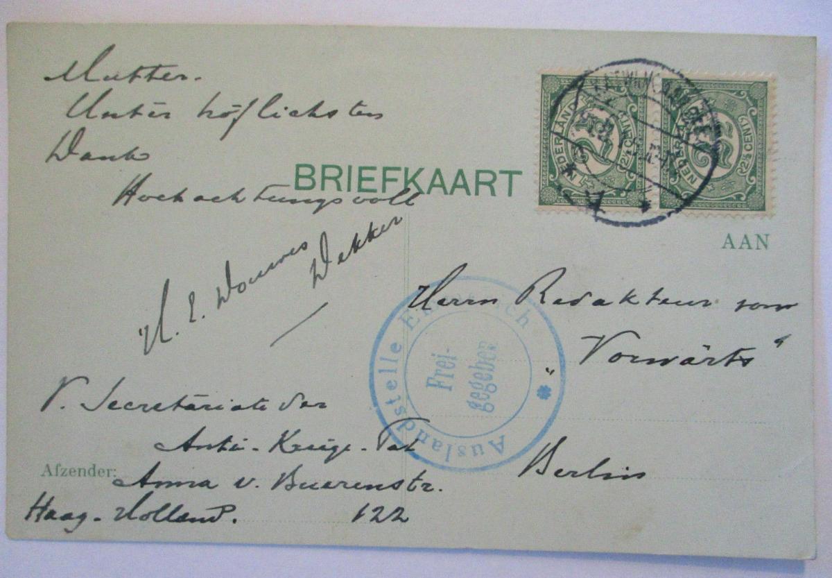 Niederlande Zensurkarte 1915 0