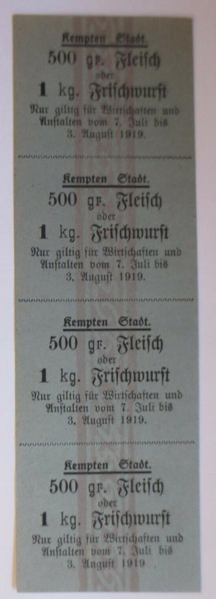 Lebensmittelkarten, Stadt Kempten Fleisch, Wurst, Juli-August 1919 ♥ (X152) 0