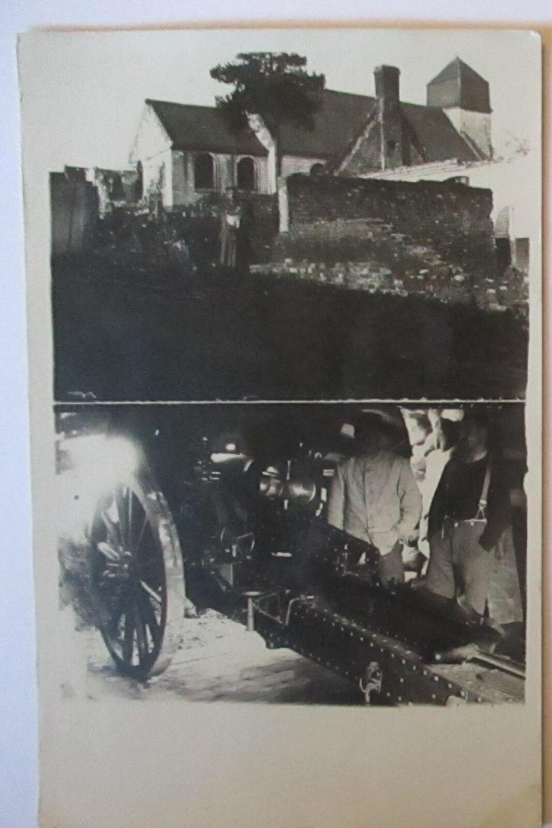 Westen, Besetzte Ortschaft, zerstörte Kirche, Artillerie, Fotokarte (19144) 0