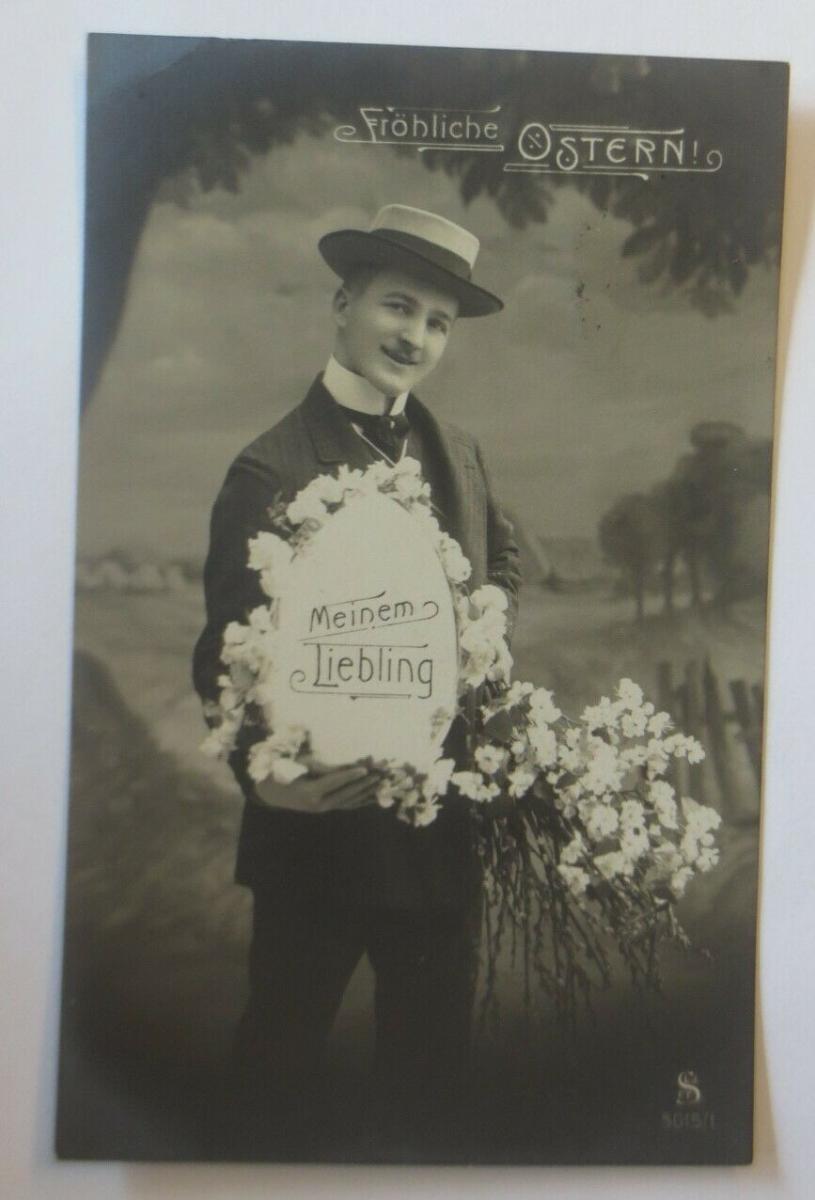 Neujahr, Männer, Mode, Osterei, Blumen,   1909  ♥ (24942) 0