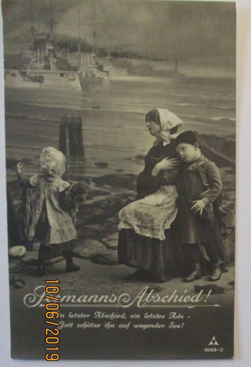 Marine Seemanns Abschied, Familie  Kriegsschiffe ca. 1915 (23291) 0