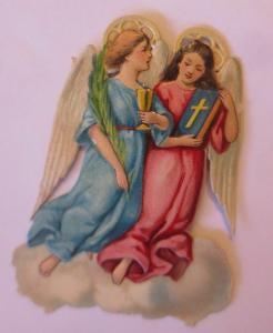 Oblaten, Engel, Kommunion,   1900   7,5 cm x 6 cm  ♥