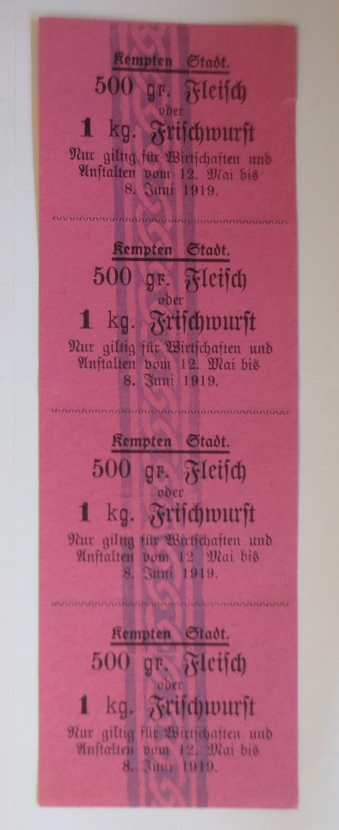 Lebensmittelkarten, Stadt Kempten Fleisch, Wurst, Mai-Juni 1919 ♥ (X150) 0