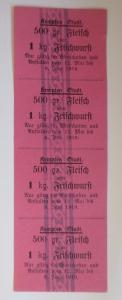 Lebensmittelkarten, Stadt Kempten Fleisch, Wurst, Mai-Juni 1919 ♥ (X150)