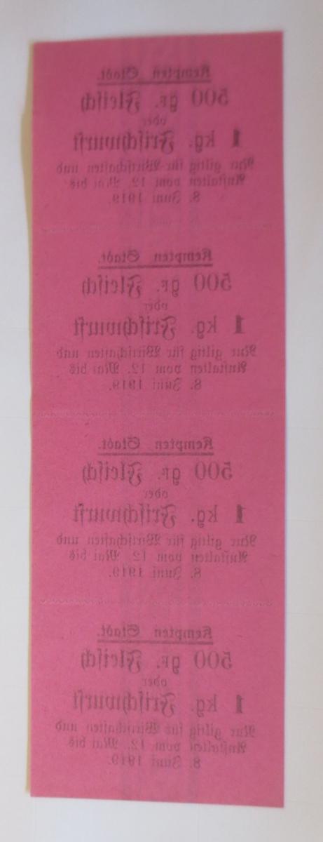 Lebensmittelkarten, Stadt Kempten Fleisch, Wurst, Mai-Juni 1919 ♥ (X150) 1