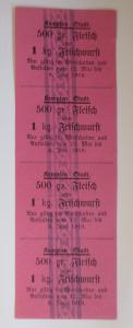 Lebensmittelkarten, Stadt Kempten Fleisch, Wurst, Mai-Juni 1919 ♥ (X149)