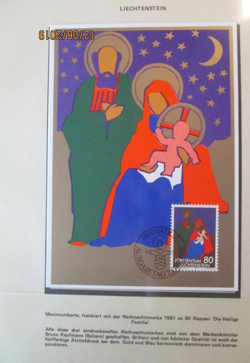 Weihnachten Maria Josef Jesus, Heiligabend, Maximumkarte Liechtenstein (17335) 0