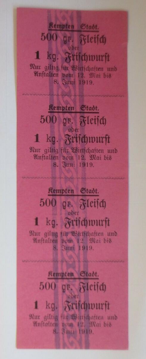 Lebensmittelkarten, Stadt Kempten Fleisch, Wurst, Mai-Juni 1919 ♥ (X147) 0