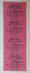 Lebensmittelkarten, Stadt Kempten Fleisch, Wurst, Mai-Juni 1919 ♥ (X147)