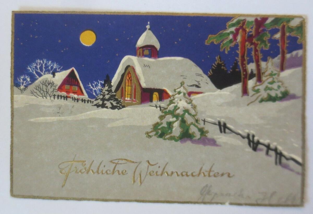 Weihnachten, Winterlandschaft, Kirche, Mond,  1929 ♥ (68312) 0