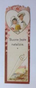 Oblaten, Kaufmannsbild, Lesezeichen, Kinder 12 cm x 4 cm  1900 ♥
