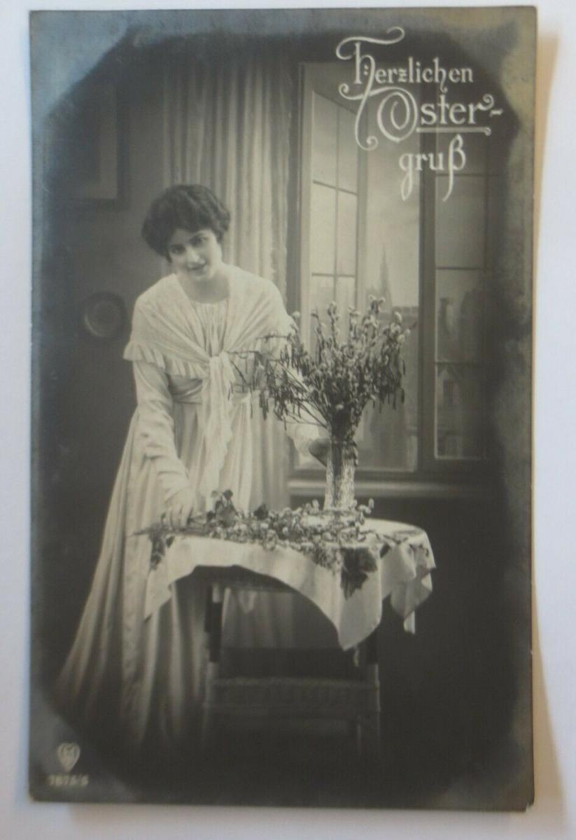 Ostern, Frauen, Mode, Weidenkätzchen,   1918  ♥ (4043) 0