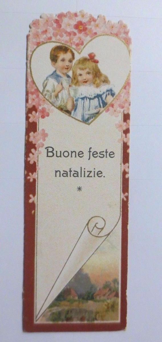 Oblaten, Kaufmannsbild, Lesezeichen, Kinder 12 cm x 4 cm  1900 ♥ 0