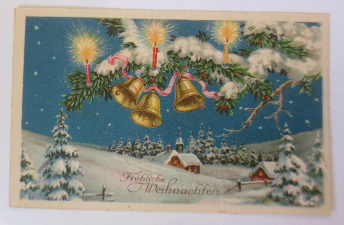 Weihnachten, Winterlandschaft, Glocken,Tannenzweig, Kerzen,  1936 ♥ (63198) 0